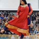 Sophomore Anika Radadiya performs a traditional bollywood dance during the pep assembly. Photo by Audrey Kesler