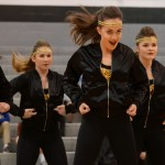 The junior varsity dance team performs their hip hop dance, at the halftime junior varisty basketball game vs. SMS. Photo by Katherine Odell