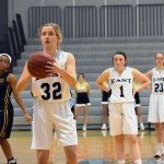Freshman Kathleen Stanley shoots a free throw after being fouled. Photo by Laini Reynolds