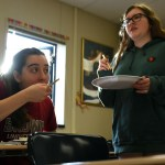 Juniors Ellie Van Gorden and Taylor Revare enjoy their sushi. Photo by Ellie Thoma