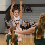 Freshman Kathleen Stanley shoots a 3 pointer. Photo by Ellen Swanson