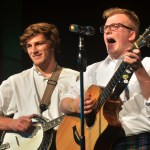 Seniors Isaac Schmidt and Deegan Poores, two out of the three members of the Heartland Rovers, perform traditional Irish songs. Photo by Libby Wilson