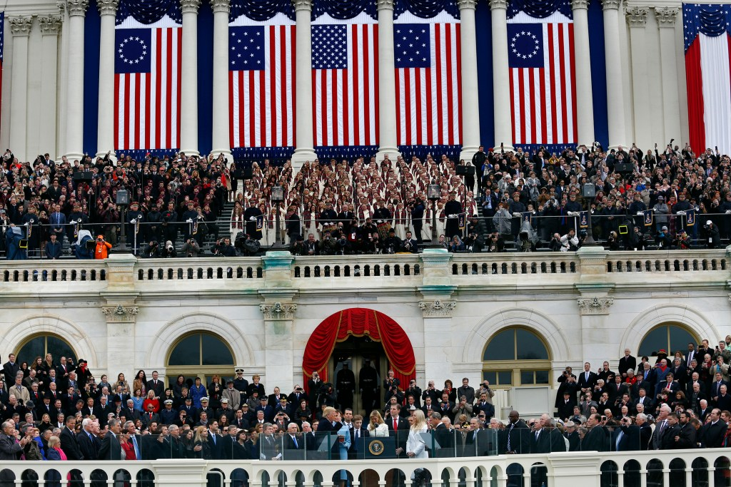 Donald Trump is sworn in as the 45th President of the United States by U. S. Supreme Court Justice John Roberts on Jan. 20, 2017 in Washington, D.C. (Carolyn Cole and Marcus Yam/Los Angeles Times/TNS)