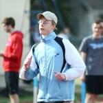 Junior Andrew Moore completes his 400 meter time trial. Photo by Luke Hoffman