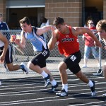 Sophomore Bradley Loveland sprints in the 100 meter dash and places second in his heat. Photo by Laini Reynolds