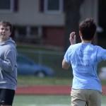 Junior Thomas Murguia passes the ball to junior Frank Schudy. Photo by CJ Manne
