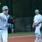 Senior Luke Anderson throws the ball to first base to stop a player leading off from Leavenworth. Photo by Luke Hoffman