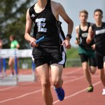 Sophomore Tom Joyce finishes his final lap in the 4 x 800 meter relay. Photo by Laini Reynolds