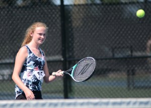 Freshman Brooke Blair does a forehand swing back to her opponent. Photo by Reilly Moreland