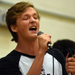 """Senior Jackson Bush sings the song """"All the Small things"""" originally written by Blink 182. Photo by Katherine Odell"""