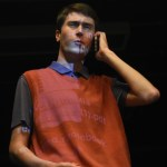Senior Owen Burrows acts out his seen for the director, Mia Vaught, as they go over little tweaks. Photo by Morgan Plunkett