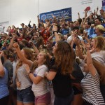 The seniors shout for one of the competitions between the student sections. Photo by Morgan Plunkett