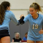 Freshman Rose Kanaley and freshman Macie Stump do their hand shake before the start of the set. Photo by Luke Hoffman