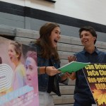 Seniors and STUCO Executives Julia Stopperman and Denny Rice laugh while trying to get people to sign up to volunteer. Photo by Reilly Moreland