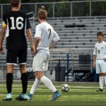 After getting fouled, senior Kristian Jespersen waits to take the free kick. Photo by Lucy Morantz