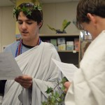 Seniors Zach Krause and George Sullivan practice their speeches before the ceremony. Photo by Ally Griffith