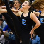 Senior Isabelle Cunningham performs the 'Can-Can' with the varsity Lancer Dancers. Photo by Audrey Kesler