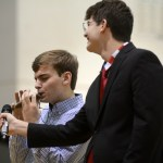 Senior Matthew Trecek plays an instrument for his talent portion of the contest. Photo by Kate Nixon