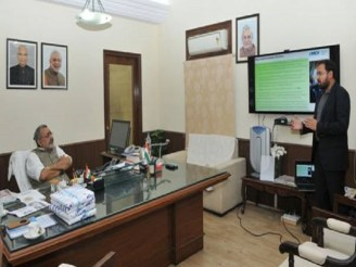 Giriraj Singh reviewing PMEGP findings