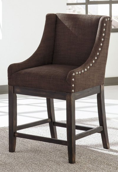 Moriann Brown Wing Back Barstool (Set of 2) - Home Bar and Game Room Furniture - Home Bar