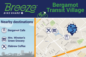 Bergamot Transit Village connects to Bergamot Cafe, Mrs. Winston's Green Grocery, Elabrew Coffee