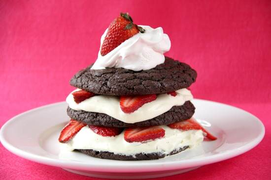 Dark Chocolate Strawberry Shortcakes with Amaretto Cream | SnappyGourmet.com