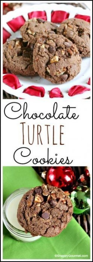 Chocolate Turtle Cookies - an easy homemade holiday, Christmas, or any time of the year cookie recipe with chocolate, nuts, and caramel! SnappyGourmet.com