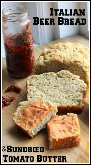 Italian Beer Bread & Sundried Tomato Butter - homemade beer bread recipe | SnappyGourmet.com