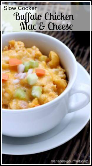 Slow Cooker Buffalo Chicken Macaroni & Cheese recipe | SnappyGourmet.com
