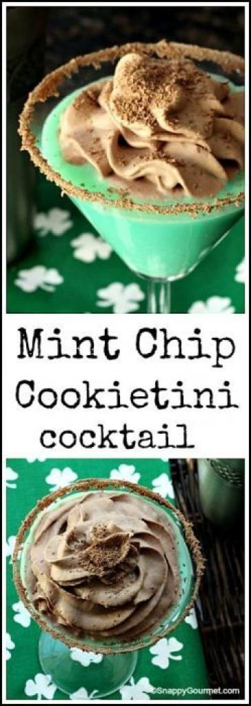 Mint Chip Cookietini - easy St. Patrick's Day green dessert cocktail recipe | SnappyGourmet.com