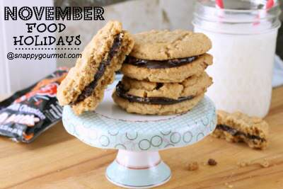 peanut butter chocolate cookies - november food holidays