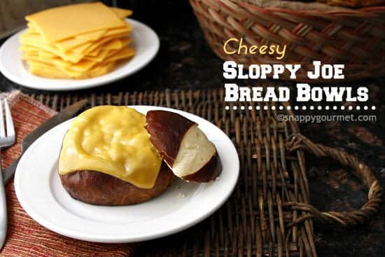 Cheesy Sloppy Joe Bread Bowls | snappygourmet.com