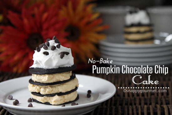 No-Bake Pumpkin Chocolate Chip Cake recipe | snappygourmet.com