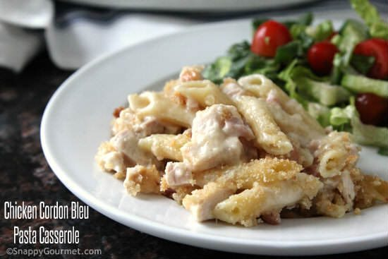 Chicken Cordon Bleu Pasta Casserole Recipe - an easy baked pasta casserole that is family friendly and freezer friendly meal! SnappyGourmet.com