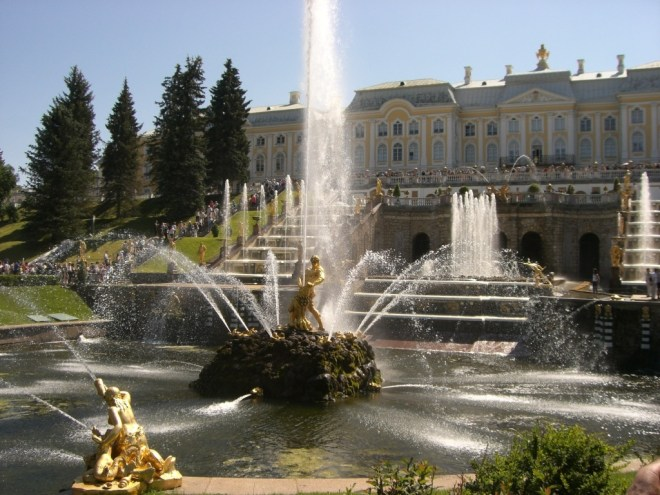 More fountains and the Grand Cascade of Petergof.