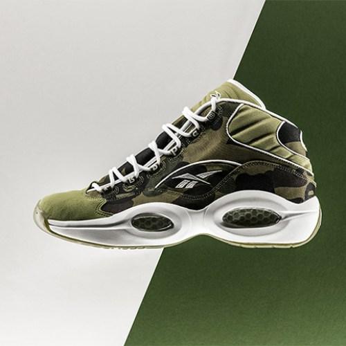 """リーボックから、BAPE®とmita sneakersによるコラボレーションモデルQUESTION MID """"A BATHING APE® x mita sneakers""""が発売"""