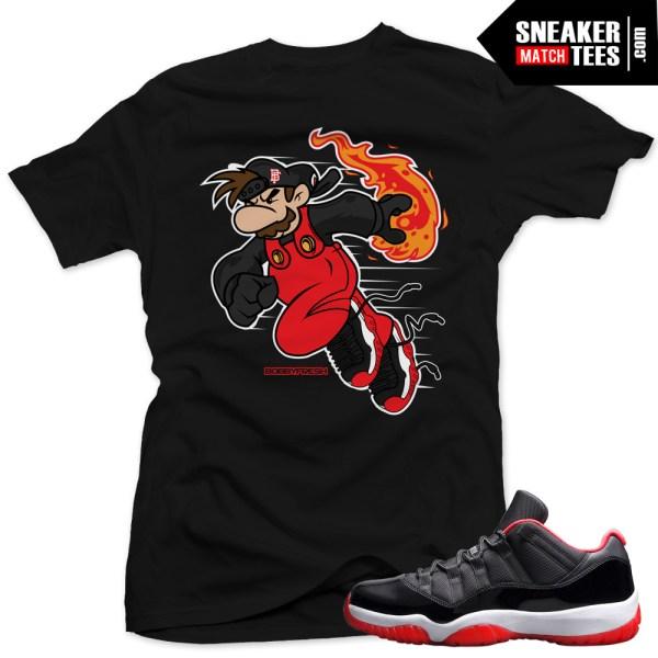 Jordan 11 bred low shirt to match fire ball black for Kicks on fire t shirt