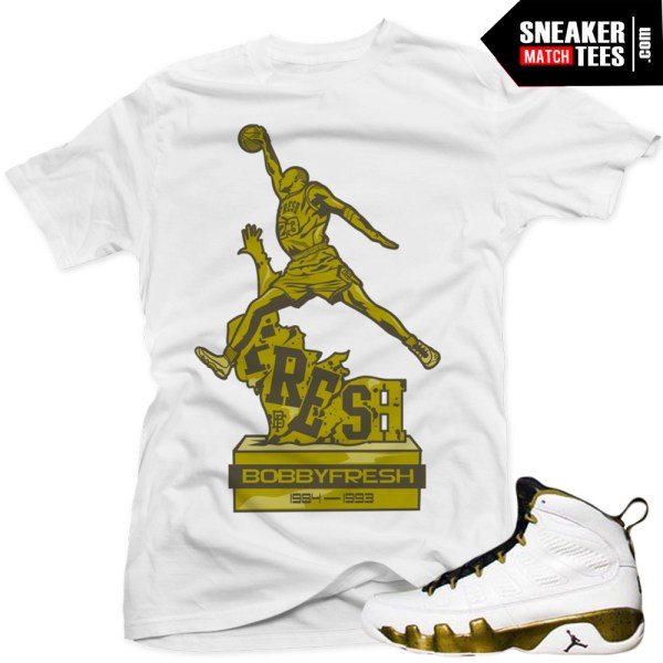 Jordan 9 statue t shirts to match sneakers jordan 9 statue for Kicks on fire t shirt