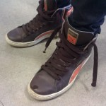 Brown and Orange Puma hightops in Hollywood