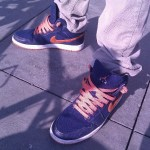 Blue and Orange Air Jordan 1 mid tops in Santa Monica