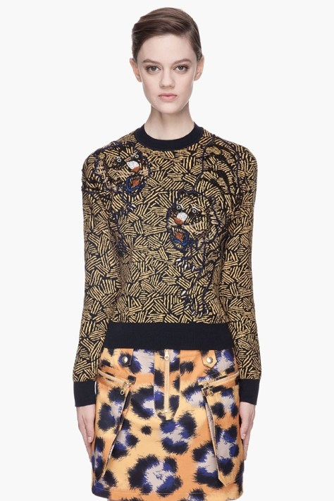 Kenzo Tan Knit and Beaded Tiger Sweater