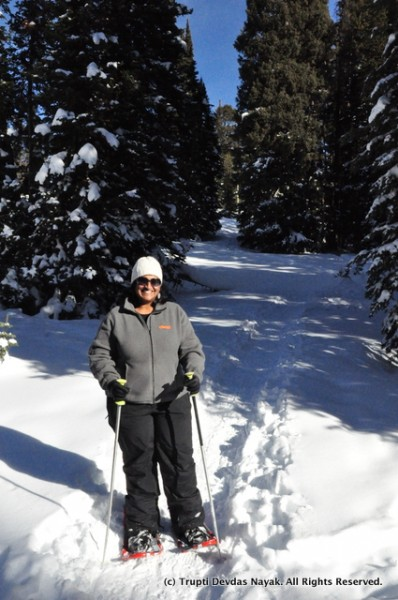 Snowshoeing on the backcountry trails at Grand Targhee