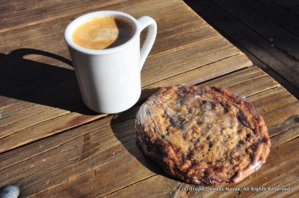 Joy in a cup - Cappuccino and an oatmeal raisin cookie