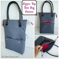 Zipper Top Tote - free bag pattern