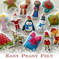 Easy felt Christmas tree ornaments pack