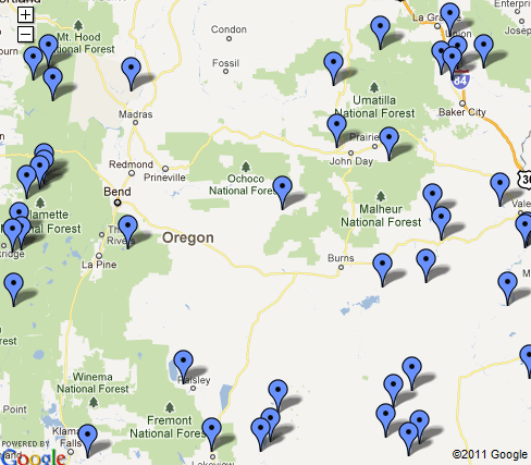 Oregon Hot Springs Map