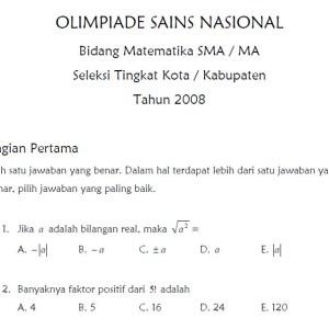 Soal Seleksi Olimpiade Sains Nasional Bidang Matematika Sma 2008 Tingkat Kota Kabupaten