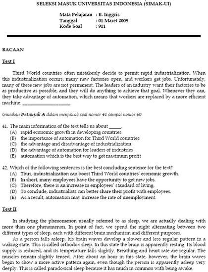Soal Seleksi Masuk Universitas Indonesia Bank Soal Ujian