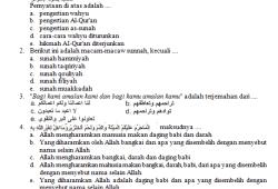 Soal Pendidikan Agama Islam tingkat SMA / MAN