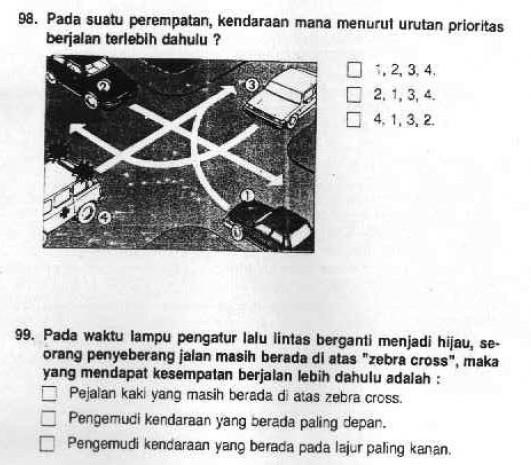 Soal Ujian SIM dan Kunci Jawabannya